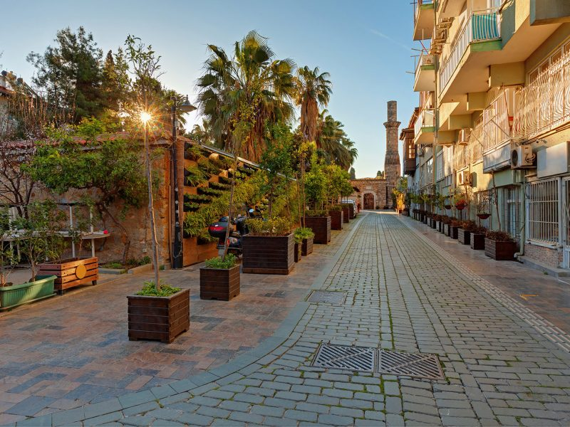 Morning in old town of Antalya is a popular touristic place.